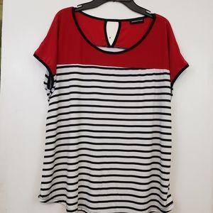 PerSeption red black white stripe blouse